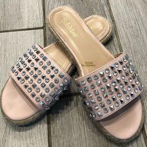 Bella Marie Pink Diamond Studded Slide On Sandals